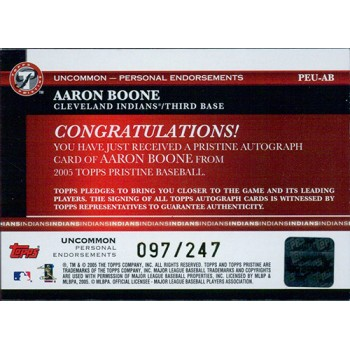 Aaron Boone Signed 2005 Topps Pristine Personal Endorsements Card /247 #PEU-AB