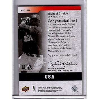 Michael Choice Team USA Signed 2009 Upper Deck By The Letter Card /100 #BTLU-MI