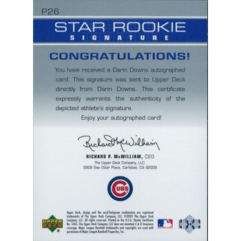 Darin Downs Cubs Signed 2003 Upper Deck Prospect Premieres Star Rookie Card #P26