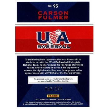 Carson Fulmer Signed 2017 Panini Stars & Stripes USA Baseball Jrsy Card #95 /234