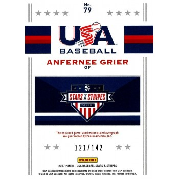 Anfernee Grier Signed 2017 Panini USA Stars & Stripes Jersey Card #79 /142
