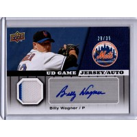 Billy Wagner Mets Signed 2009 Upper Deck UD Game Jersey Auto Card 29/35 #GJ-BW