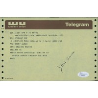 1974 Hank Aaron Vintage Signed Congratulatory Western Union Telegram on 715 JSA Authenticated
