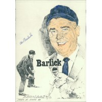 Al Barlick Umpire and James Amore Signed 7x10 Lithograph JSA Authenticated