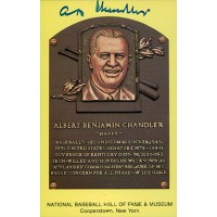 A.B. Happy Chandler Signed HOF Cooperstown Plaque Postcard JSA Authenticated