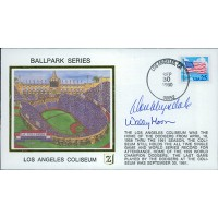 Don Drysdale Wally Moon Signed LA Coliseum Ballpark Cachet JSA Authenticated