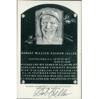 Bob Feller Signed Hall of Fame Cooperstown Plaque Postcard JSA Authenticated