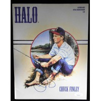 Chuck Finley California Angels Signed Halo Scorebook Magazine JSA Authenticated