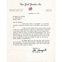 Joe Garagiola Signed Typed Letter On New York Yankees Letterhead JSA Authenticated