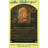 Charles Gehringer Signed Hall of Fame Cooperstown Plaque Postcard JSA Authentic
