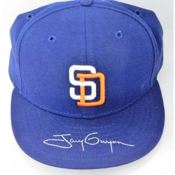 Tony Gwynn San Diego Padres Signed Blue Logo New Era Hat JSA Authenticated