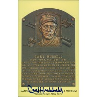 Carl Hubbell Signed Hall of Fame Cooperstown Plaque Postcard JSA Authenticated