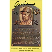 Al Kaline Signed Hall of Fame Cooperstown Plaque Postcard JSA Authenticated