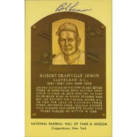 Bob Lemon Signed Hall of Fame Cooperstown Plaque Postcard JSA Authenticated