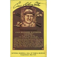 Enos Slaughter Signed Hall of Fame Cooperstown Plaque Postcard JSA Authenticated