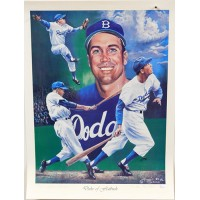 Duke Snider Brooklyn Dodgers Signed 18x24 Lithograph /407 JSA Authenticated
