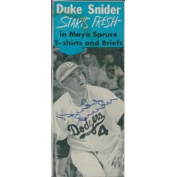 Duke Snider Brooklyn Dodgers Signed 2.25x5.5 Cut Page JSA Authenticated