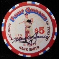 Hank Bauer New York Yankees Signed Four Queens Vintage $5 Poker Chip JSA Auth.