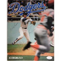 Dodgers Don Sutton Tommy Lasorda Monty Basgall Signed Program JSA Authenticated