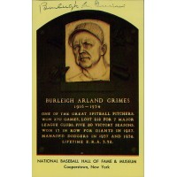 Burleigh Grimes Signed Hall of Fame Plaque Postcard JSA Authenticated