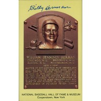 Billy Herman Signed Hall of Fame Cooperstown Plaque Postcard JSA Authenticated