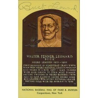 Buck Leonard Signed Hall of Fame Cooperstown Plaque Postcard JSA Authenticated