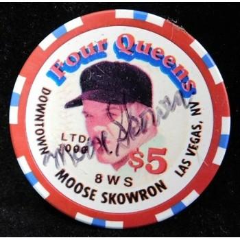 Moose Skowron Yankees Dodgers Signed Four Queens Vintage $5 Poker Chip JSA Authenticated