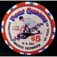 Moose Skowron Yankees Dodgers Signed Four Queens Vintage $5 Poker Chip JSA Authenticated