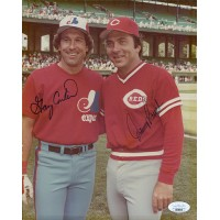 Gary Carter and Johnny Bench Signed 8x10 Matte Photo JSA Authenticated