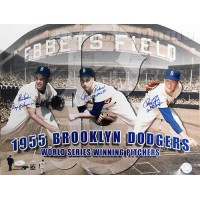 1955 Brooklyn Dodgers Clem Labine/Johnny Padres/Roger Craig Signed 16x20 JSA Authenticated