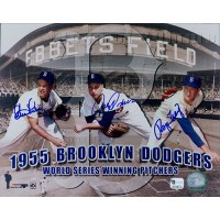 1955 Brooklyn Dodgers Clem Labine, Johnny Padres, Roger Craig Signed 8x10 Photo Global Authenticated