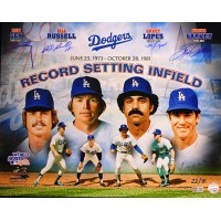 Ron Cey, Bill Russell, Davey Lopes, Steve Garvey Signed 16x20 Photo TRISTAR Auth