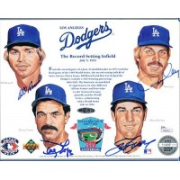 Los Angeles Dodgers Infield Signed 8x10 Upper Deck Stock Card JSA Authenticated