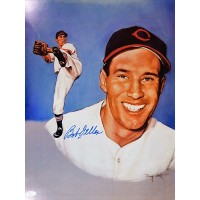 Bob Feller Cleveland Indians Signed 16x20 Card Stock Photo JSA Authenticated