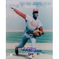 Bob Gibson Signed St. Louis Cardinals 8x10 Photo Inscribed HOF 81 Global Authenticated