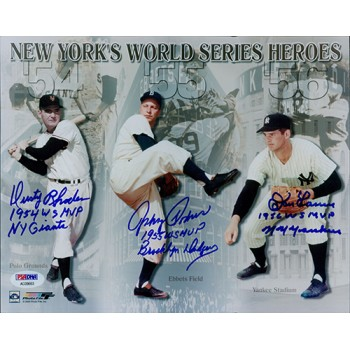 Don Larsen, Johnny Padres & Dusty Rhodes Signed New York Heroes 8x10 Photo PSA
