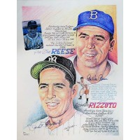 Pee Wee Reese and Phil Rizzuto Signed 11x14 Lithograph JSA Authenticated