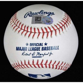Yunel Escobar Signed Major League Baseball In Blue Pen MLB Authenticated