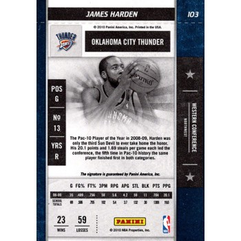 James Harden OKC 2009-10 Playoff Contenders RC Auto Rookie Ticket Card