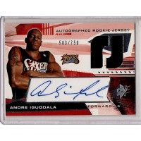 Andre Iguodala 76ers 2004-05 Upper Deck SPX Autographed Patch Card /750 #141