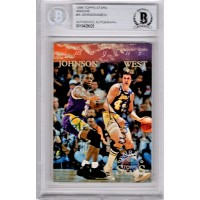 Magic Johnson and Jerry West Signed 1996 Topps Stars Imagine Card I8 BAS Authenticated