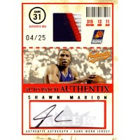 Shawn Marion Phoenix Suns 2004-05 Fleer Authentix Auto Jersey Card 4/25 #AJA-SM