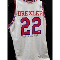 Clyde Drexler Houston Cougars Signed Authentic LE Jersey JSA Authenticated