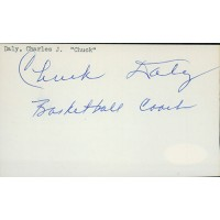 Chuck Daly Basketball Coach Signed 3x5 Index Card JSA Authenticated