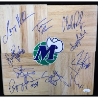 Dallas Mavericks 1995-96 Team Signed 12x12 Floorboard JSA Authenticated