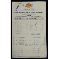 Jerry West Los Angeles Lakers Signed 11/15/95 Game Notes JSA Authenticated