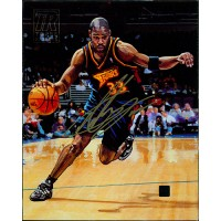 Antawn Jackson Warriors Signed 2000-01 Topps Reserve 8x10 Canvas Photo