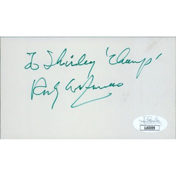 Rocky Graziano Boxer Signed 3x5 Index Card JSA Authenticated