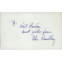 Peter Benchley Author Screenwriter Signed 3x5 Index Card JSA Authenticated