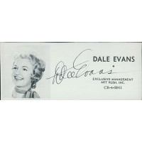 Dale Evans Actress Signed 2x4.5 Directory Cut JSA Authenticated
